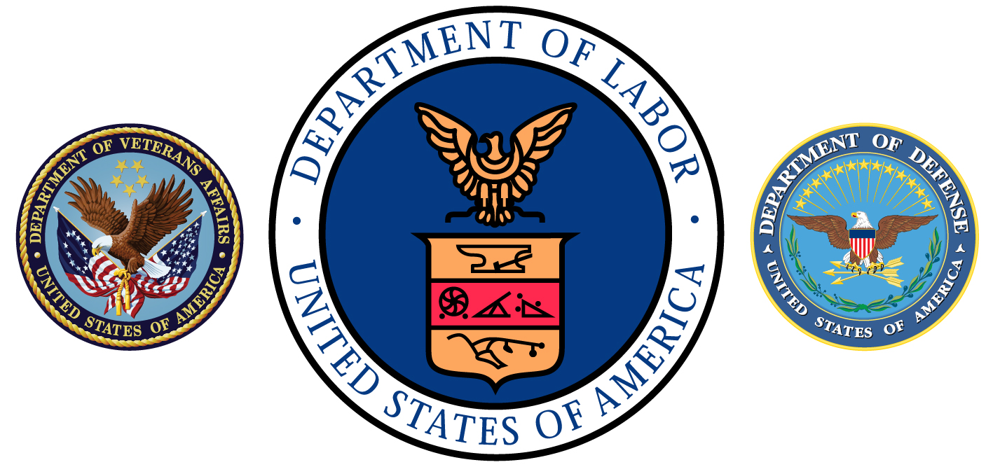 Department of Veterans Affairs, Department of Labor, Department of Defense seals