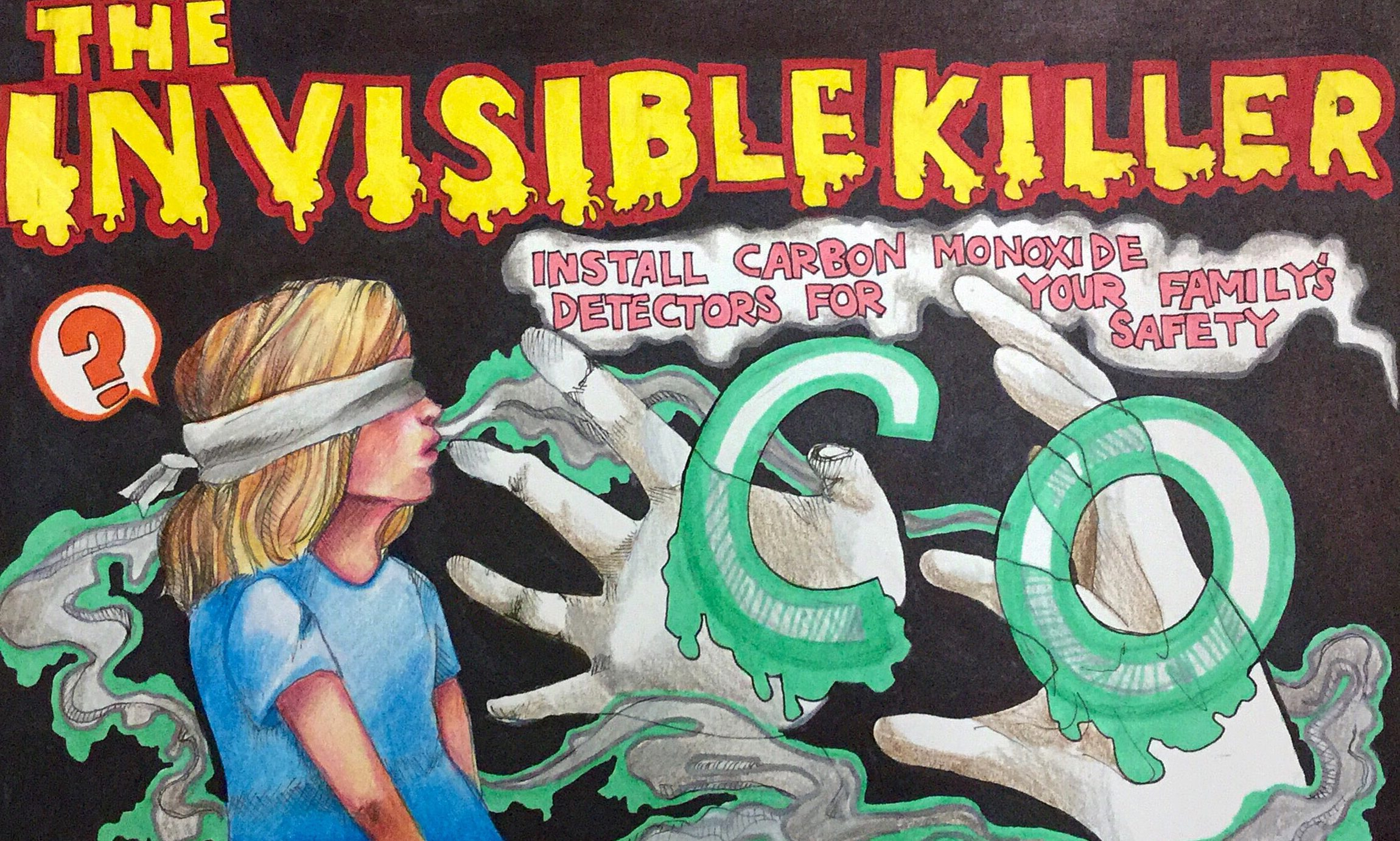 The winning poster for the CPSC Carbon Monoxide challenge features a blindfolded woman breathing in carbon monoxide, depicted as the invisible killer.
