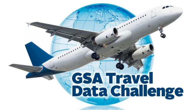 The GSA Travel Data Challenge logo features a jet airliner taking flight in front of a transparent globe.
