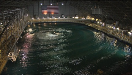 A large wave pool called the maneuvering and seakeeping basin is depicted.